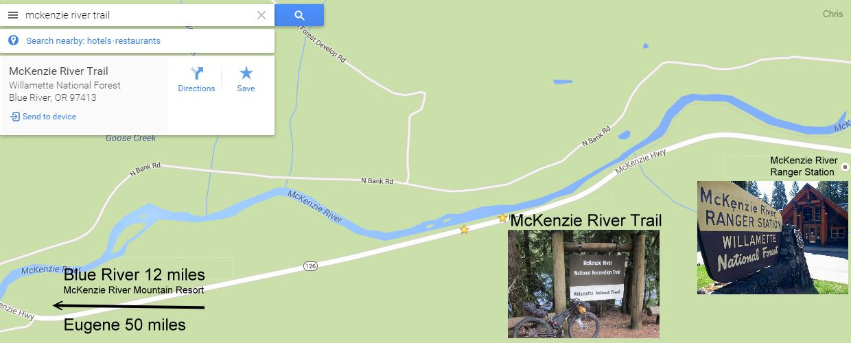 Lower trail head map for McKenzie River Trail
